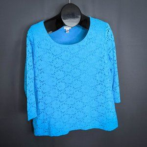 Chicos Top Shirt Size 3 (XL) Blue Womens Lace